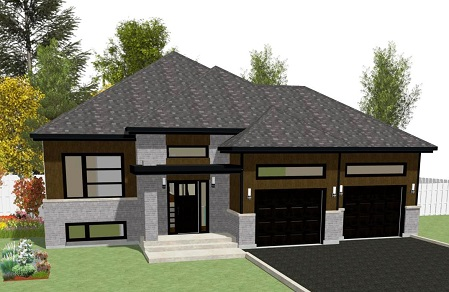 Crystal avec garage double construction sylvain paradis inc for Plan maison plain pied avec garage double